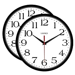 LAMIKO 2 Packs Wall Clocks Non-Ticking Silent 10 Inch Battery Operated Classic Quartz Decro Clock Easy to Read for Room/Home/Kitchen/Bedroom/Office/School, Black