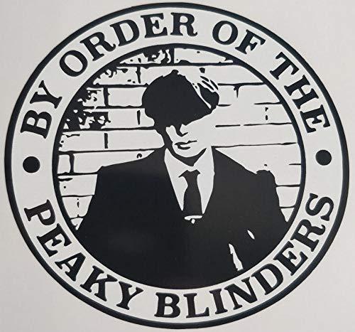 1st-Class-Designs 1 x By Order Of The Peaky Blinders Laptop-Aufkleber 100 mm x 100 mm, einfach abziehen und aufkleben, für Auto, Transporter, Motorrad, hergestellt in Yorkshire
