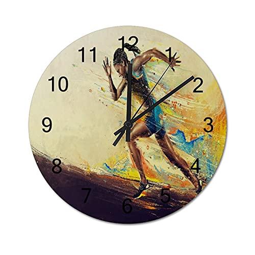Reloj de Pared Vintage,Atleta Femenina Chica Deportes,Relojes de Pared de Madera silenciosos Que no Hacen tictac,Reloj de Pared rústico de Granja para la decoración del Dormitorio de la Sala de Estar