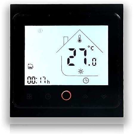 BecaSmart Series 002 Termostato Inteligente Wi-Fi 16A Pantalla táctil LCD Calefacción eléctrica Control de programación Inteligente con conexión WiFi (Calefacción eléctrica, Negro)