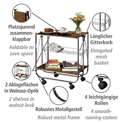 Wenko 713003100 Servierwagen Dinett Deluxe Walnuss Küchenwagen – Beistellwagen- zusammenklappbar - 6