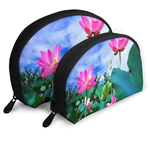 Bolsa de Maquillaje Flor de Loto Significado Organizador portátil de artículos de tocador para Mujeres 2 Piezas