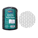 MTB PVC Hexagonal Poultry Netting Chicken Wire 12' x150' x 1' Mesh 20GA Black