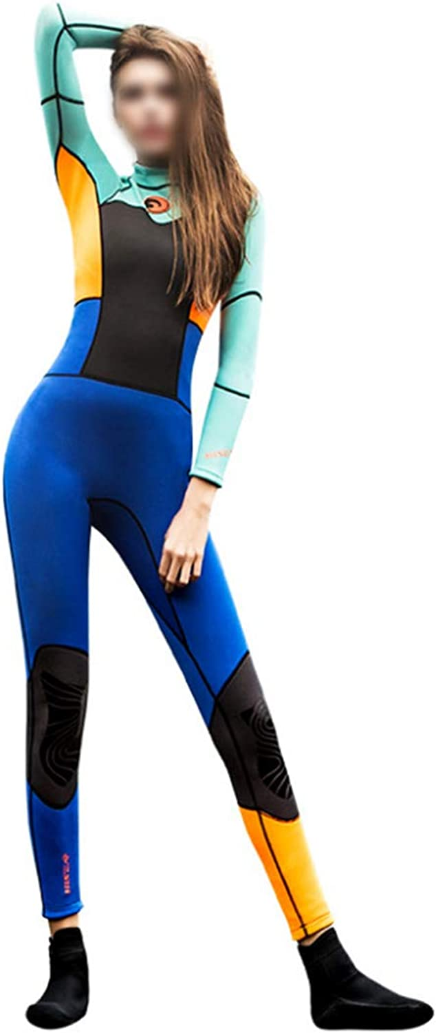 Saalising Women's Full Body Wetsuit bluee orange Green and Black Back Zip Full Diving Suits Sports Skins for Diving,Snorkeling and Swimming