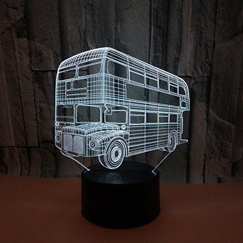 Nachtlampje led-nachtlampje met wisselend nachtlampje, 7 kleuren, bus, kinderkamer, hal, kleuterschool, vakantiegeschenk,