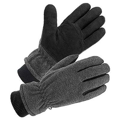 SKYDEER Winter Gloves with Premium Genuine Deerskin Suede Leather and Windproof Polar Fleece (SD8662KW/XL)