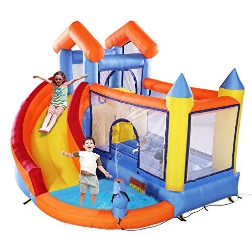 JAXPETY Inflatable Bounce House for Kids, Jump and Slide Bouncer Castle Activity Center for Children 3-10 w/ 680W Blower, Repair Kit, Trampoline, Splash Pool, Water Canon, Climb Wall