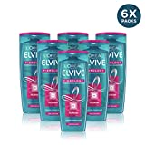 L'Oreal Elvive Fibrology Thickening Shampoo para cabello fino, 400ml, Pack de 6