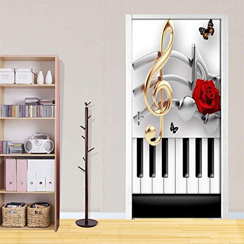 Bdhnmx 3D-stickers, zelfklevend, voor deuren, muurverf, zelfklevend, om te knutselen, piano note, roze, voor woonkamer, slaapkamer, decoratie, PVC, waterdicht, 30,3 x 78,7 cm (77 x 200 cm)