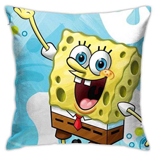 N \ A Juego de fundas de almohada de Bob Esponja para sofá o sofá, 45,7 x 45,7 cm, forma cuadrada, color azul