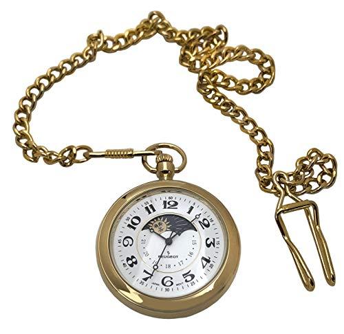Peugeot - Reloj de bolsillo para hombre chapado en oro de 14 quilates con cadena, esfera abierta de 40 mm, grabado con números romanos fáciles de leer