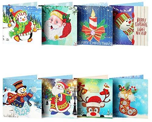 YWCXMY-LDL New 5d DIY Diamant-Malerei Weihnachtskarten Diamant-Mosaik Emboridery Perlen Full Custom Cartoon Tier Weihnachtsmann (Color : Purple)