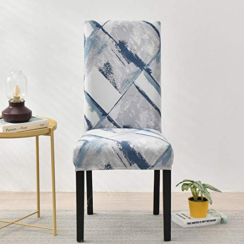 Chair Covers White Blue Gray Marble Dining Chair Covers Spandex Stretch Removable Washable Modern Dining Room Chair Covers,Seat Covers with Elastic Band for Wedding Dining Room Decoration2 Pcs