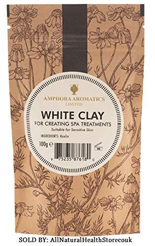 Amphora Aromatics White Clay (Kaolin) máscara facial, exfoliante, (tipos de piel sensibles) limpia y reduce el tamaño de los poros, ayudando a crear una tez más fresca y más clara