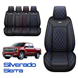 Aierxuan Chevy Silverado GMC Sierra Car Seat Covers Pickup Custom Fit 2007-2021 1500 2500HD 3500HD Crew Double Extended Cab Waterproof Leather Seat Cushions (2 PCS Front, Black-Blue) -  YITAI