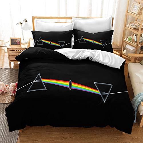 Probuk Juego de ropa de cama Pink Floyd 100% microfibra, funda nórdica con impresión 3D, ropa de cama para niños y niñas, con funda de almohada (A-03,220 x...