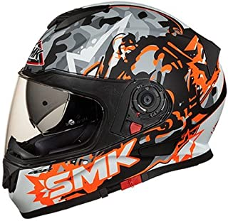 SMK MA276 Twister Attack Graphics Pinlock Fitted Full Face Helmet with Clear Visor (Matt Black, Orange and Grey, XL)