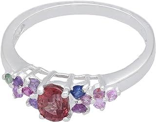 1001Kristall Anillo tamaño 52 de plata 925 con 13 zafiros facetados multicolor