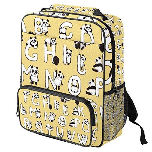 TIZORAX - Mochila escolar para niñas y niños, diseño de letra ABC para mujer, mochila de viaje, senderismo, acampada
