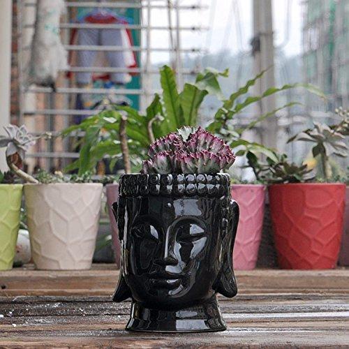 Buddha Head Ceramic Plant Pot, Black