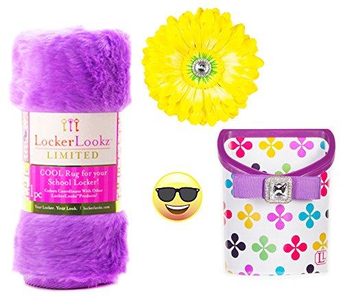 Locker Lookz Purple Multi Color Clover Bin, Purple Rug, Yellow Daisy Flower Magnet, and Exclusive PartiMoji Sunglass Emoji Magnet, 2016 Limited Edition Set – Your Locker. Your Look.