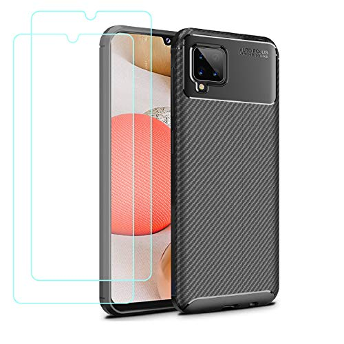 Young & Min Funda para Samsung Galaxy A42 5G + Protectores de Pantalla in Cristal Templado, Resistente Funda TPU Protectora e Anti-Scratch Blando Funda, Negro
