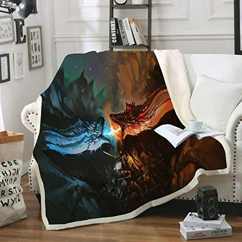 """YZHY - Coperta e plaid in microfibra, motivo """"Game of Thrones"""", motivo: disegno Marvel, hotel a casa, letto, divano, coperte, per coppia di bambini (O,100 x 140 cm)"""