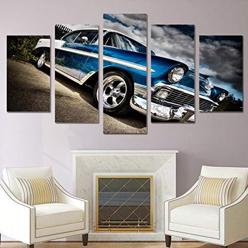 GIZIGI Póster de Arte de Pared HD Impreso imágenes modulares 5 Piezas Coche Chevrolet Bel Air Lienzo Pintura decoración del hogar Sala de Estar