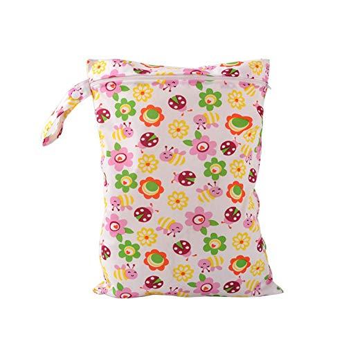 Drawihi borsa per pannolino da bambini impermeabile riutilizzabile lavabile dotata di chiusura a cerniera multicolore