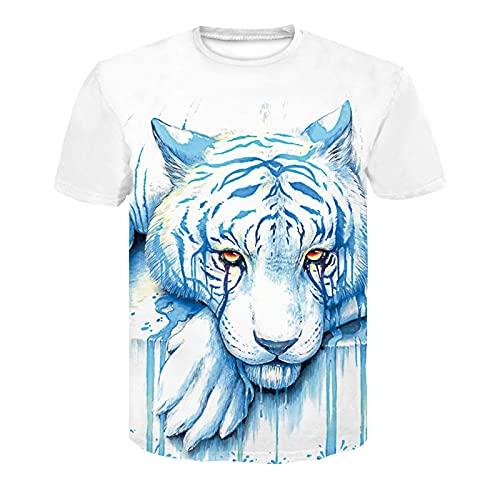 XDJSD Camiseta para Hombre Camiseta Corta Camiseta De Manga Corta para Hombre Camiseta De Gran Tamaño para Hombre Color Puro Marca De Moda Top Casual Top con Estampado De Tigre
