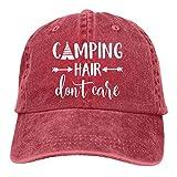HHNLB Unisex Camping Hair Don t Care 1 Vintage Jeans Baseball Cap Classic Cotton Dad Hat Adjustable Plain Cap Red