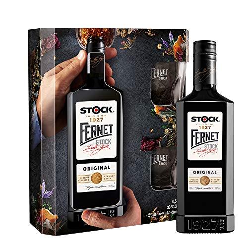 Fernet Stock Kräuterlikör Geschenkset mit 2 Gläser (1 x 0,5 Liter)