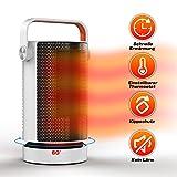 Mini radiateur soufflant en céramique avec oscillation automatique, chauffage soufflant de salle de bain avec deux niveaux de puissance, soufflant portable 1000 W pour salon, bureau, terrasse – Blanc
