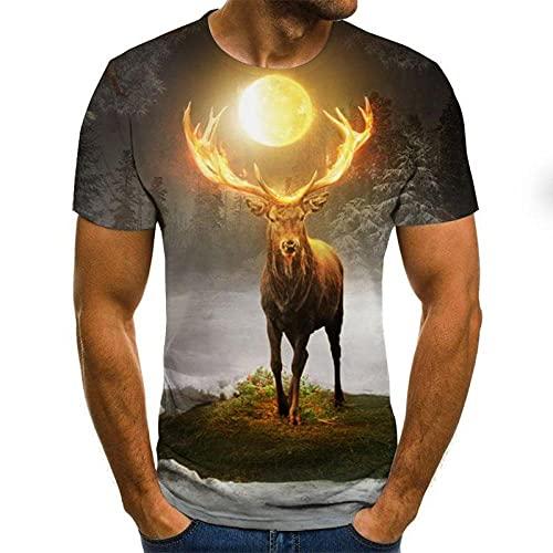 YPDWYJL 3D kurzärmelige Sonne Präriehirsch Sommer Rundhalsausschnitt T-Shirt Mode lässig Straße schnell trocknendes Top