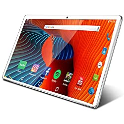 Image of Tablet 10.1 inch Android Tablet with 2GB+32GB, 3G Phone Tablets & Dual Sim Card & 2MP+ 5MP Dual Camera, Quad Core Processor, 1280x800 IPS HD Display,GPS, FM (Silver): Bestviewsreviews