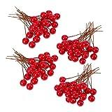 KongJies Berries, 100 piezas de 10 mm de bayas artificiales para árbol de Navidad, guirnalda de bricolaje decoración de manualidades, color rojo