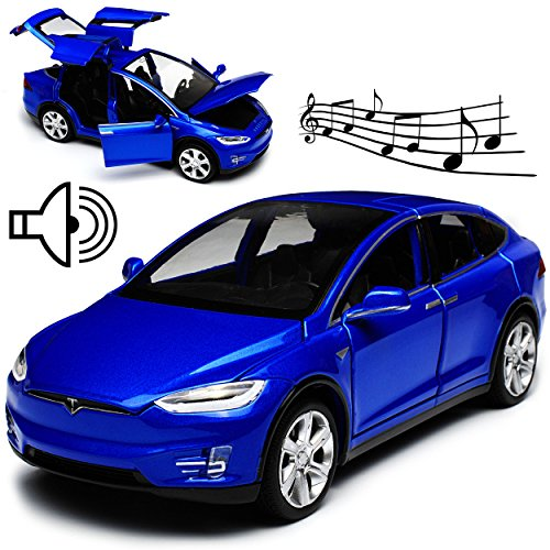 Unbekannt Tesla Model X SUV Blau Ab 2015 mit Licht und Sound 1/32 Modellcarsonline Modell Auto mit oder ohne individiuellem Wunschkennzeichen