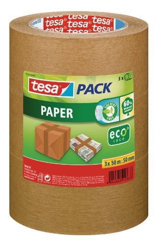 tesapack Paper ecoLogo im 3er Pack - Umweltgerechtes Paketband aus Papier, 60 {c4a664809a40e0665738434e9be43f173f2fd1be326eae72085780440e49118e} biobasiertes Material - Braun - 3 Rollen je 50 m