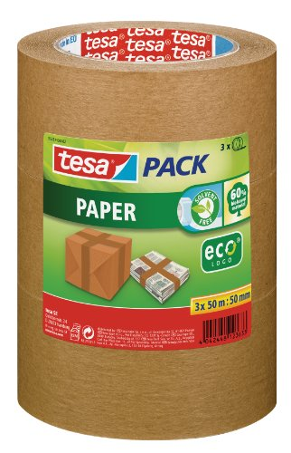 Tesa 55337-00002-01 Paper ecoLogo - Lote de precintos de embalaje (3 unidades, producto ecológico, 50 m, 50 mm), color marrón