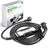 Morec Tipo 2 EV Cargador (estándar Europeo) Schuko 2 Pin ev Cable de Carga conmutable 10/16A Caja de Carga IEC 62196-2 2.2/3.6kw, 7.5m / 24.6ft