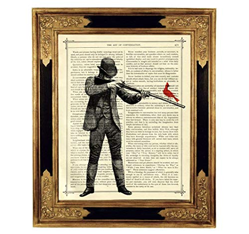 Jäger Gewehr Vogel Western Poster Kunstdruck auf antiker Buchseite Frieden Steampunk Mann Geschenk Bild ungerahmt