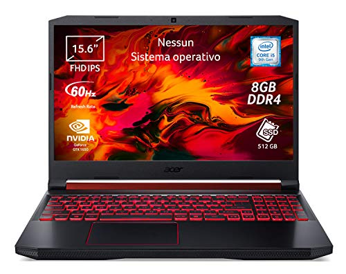 "Acer Nitro 5 AN515-54-55CQ Notebook Gaming, Intel Core i5-9300H, Ram 8 GB, 512 GB PCIe NVMe SSD, Display 15.6"" FHD IPS 60 Hz LCD, Nvidia GeForce GTX 1650 4 GB GDDR5, No Sistema Operativo"