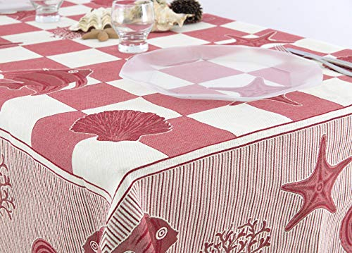 Nappe jacquard dessin marin 140x140 rouge