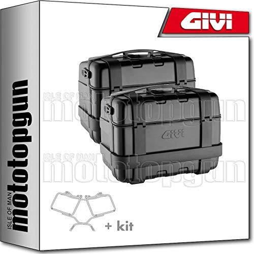 givi portamaletas lateral + maletas lateral trekker trk46b black line compatible con benelli trk 502 x 2019 19