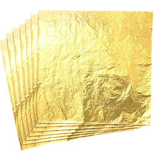 CZ Store Foglia Oro -✮GARANZIA A VITA✮- 100 Fogli di Imitazione Foglia d'Oro con Rifinitura Liscia, 14 cm - Materiale di Doratura Artigianale Per Decorazione Fai Da Te, Mobili, Quadri, Decoupage