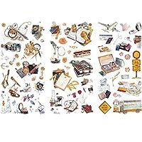 Songowe 手帳シール ノートステッカー ハンドアカウントステッカー スクラップブックステッカー 装飾用ステッカー 和紙シール 3枚12セット
