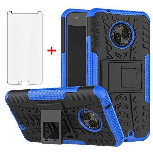Phone Case for Motorola Moto X4 with Tempered Glass Screen Protector Cover Stand Kickstand Hard Rugged Hybrid Cell Accessories MotoX4 X 4th Generation 4X 4 Gen Android One XT1900-1 Cases Black Blue