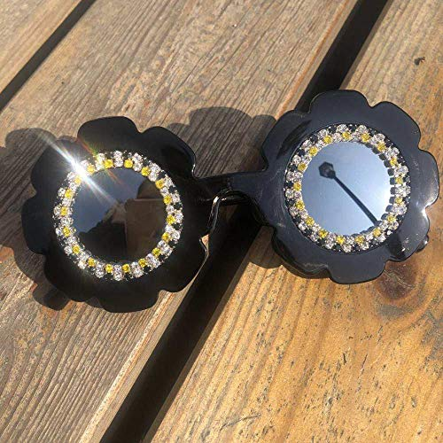 CIDCIJN Childrens Sunglasses,Summer Gorgeous Round Kids Pure Black Sunglasses Diamond Flower Children Eyewear Cute Small Baby Glassess.Useful Gift