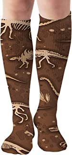Set Silhouettes Dino Skeletons Dinosaurs Fossils Dinosaur The Arts Compression Socks For Women&Men - Best Medical For Running Athletic Flight Travel Circulation Recovery,19.68 Inch