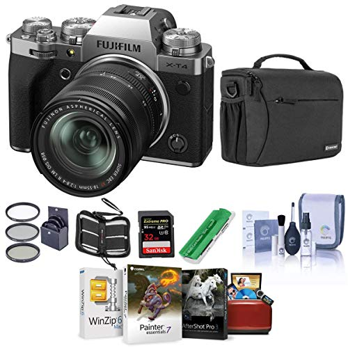 Fujifilm x-t4 mirrorless camera with xf 18-55mm f/2. 8-4 r lm ois lens, silver - bundle with shoulder bag, 32b sdhc card, cleaning kit, card reader, memory wallet, mac software pack, 58mm filter kit